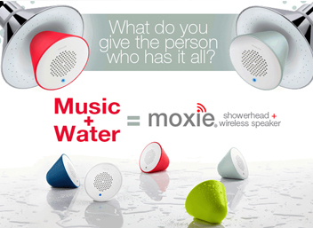 Moxie showerhead and wireless speaker